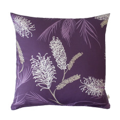 Grevillea in aubergine cushion cover