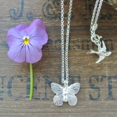 Audrey silver butterfly necklace