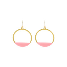 Pink circle deco earrings