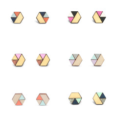 Hexagon sliced earrings (various colours)