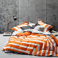 Corner stripe orange poppy quilt cover