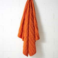 Jumbo cable orange poppy throw