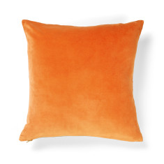 Luxury velvet orange poppy cushion