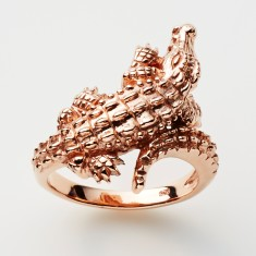 Crocodile ring in gold or rose gold plate