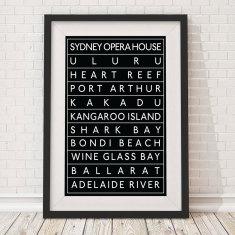 Australian landmarks bus blind print