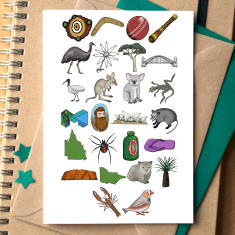 Australian alphabet greeting card