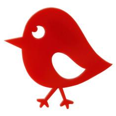 Red Chirpy Bird Brooch