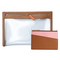 Ladies Leather Travel Pouch & Coin Purse Gift Set