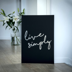 Live Simply matt black steel artwork for indoors and outdoors