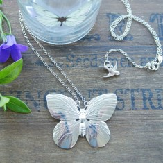 Ava silver large butterfly necklace