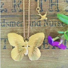 Ava gold large butterfly necklace