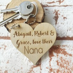 Personalised love your nana wooden key ring