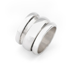 Sterling silver spin barrel ring