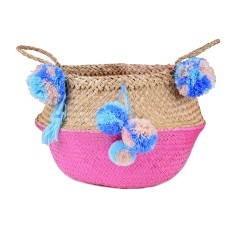 Seagrass Belly Basket in Hot Pink Candy Colours