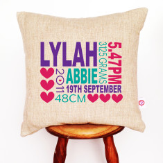 Girl's linen birth details cushion cover