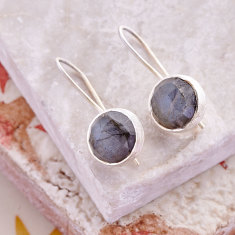 Cupcake larger drop earrings with Labradorite in silver
