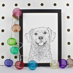 Golden Retriever Dog Line Portrait Print