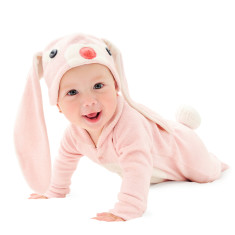 Lil' pink bunny baby & toddler costume with hat