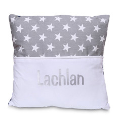 Personalised name cushion in Grey Star