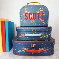 Personalised Space Suitcase Storage Box Trio
