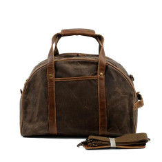 Canvas Waterproof Travel Bag With Leather Handle in Brown