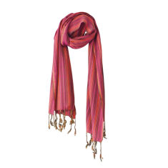 Multi-striped scarf in crimson