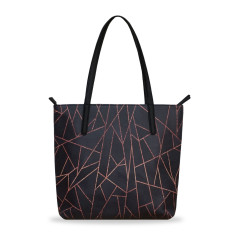 Black & Copper Vegan Leather Medium Tote Handbag
