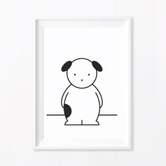 Dash Dog Monochrome Nursery Art Print