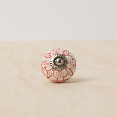 Red floral knob