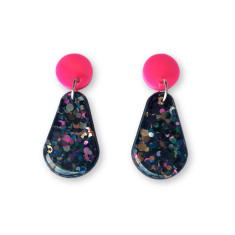Glitter resin drop earrings - black, hot pink and gold