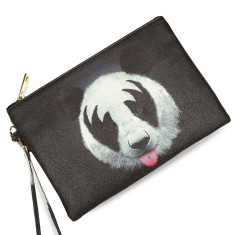 Panda Print Black Vegan Leather Pouch Clutch Bag
