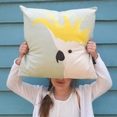Cockatoo Cushion in Pale Mint