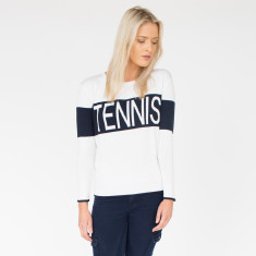 Tennis Cream & Navy Cotton Knit