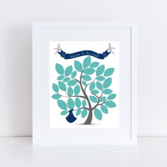 Boy's baby shower signature guest book tree print
