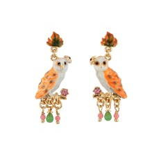 Owl on a branch earrings