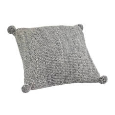 Pom Pom Cushion - Storm (charcoal)