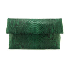 Forest green motif python leather classic foldover clutch