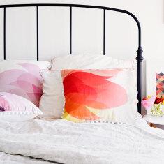 Bright Summery Botanical Print Cushion with Pom Pom Trim