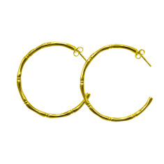 Bamboo Hoop Earrings in Yellow Gold Plate