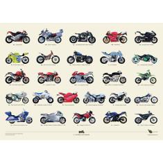 A to Z of modern motorbikes poster