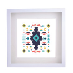 Aztec white framed print