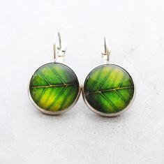 Green leaf glass dangle drop earrings in silver