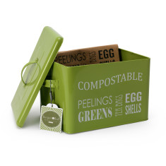 Enamelware by Burgon & Ball Compost Bin Lime Green