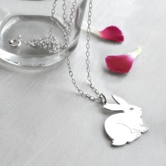 Personalised Sterling Silver Sitting Bunny Necklace
