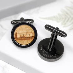 Personalised gun metal london skyline cufflinks