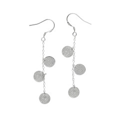 Frida three coin earrings in silver