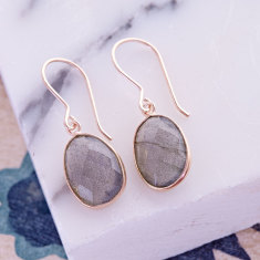Pebble single stone drop earrings with labradorite