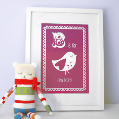 Personalised B is for bird child's letter print