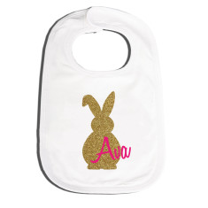 Personalised Easter bling bunny bib in pink or peach