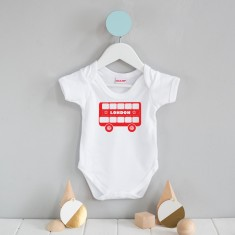 London bus screen-printed onesie